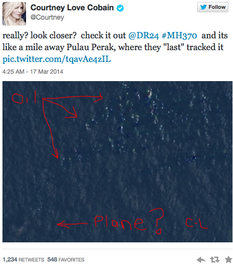 Malaysia Airlines Flight 370: Found By Courtney Love?!