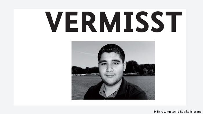 One of the posters, with the word Missing above a picture of a young man. Source: http://www.initiative-sicherheitspartnerschaft.de/ Bundesamt für Migration und Flüchtlinge