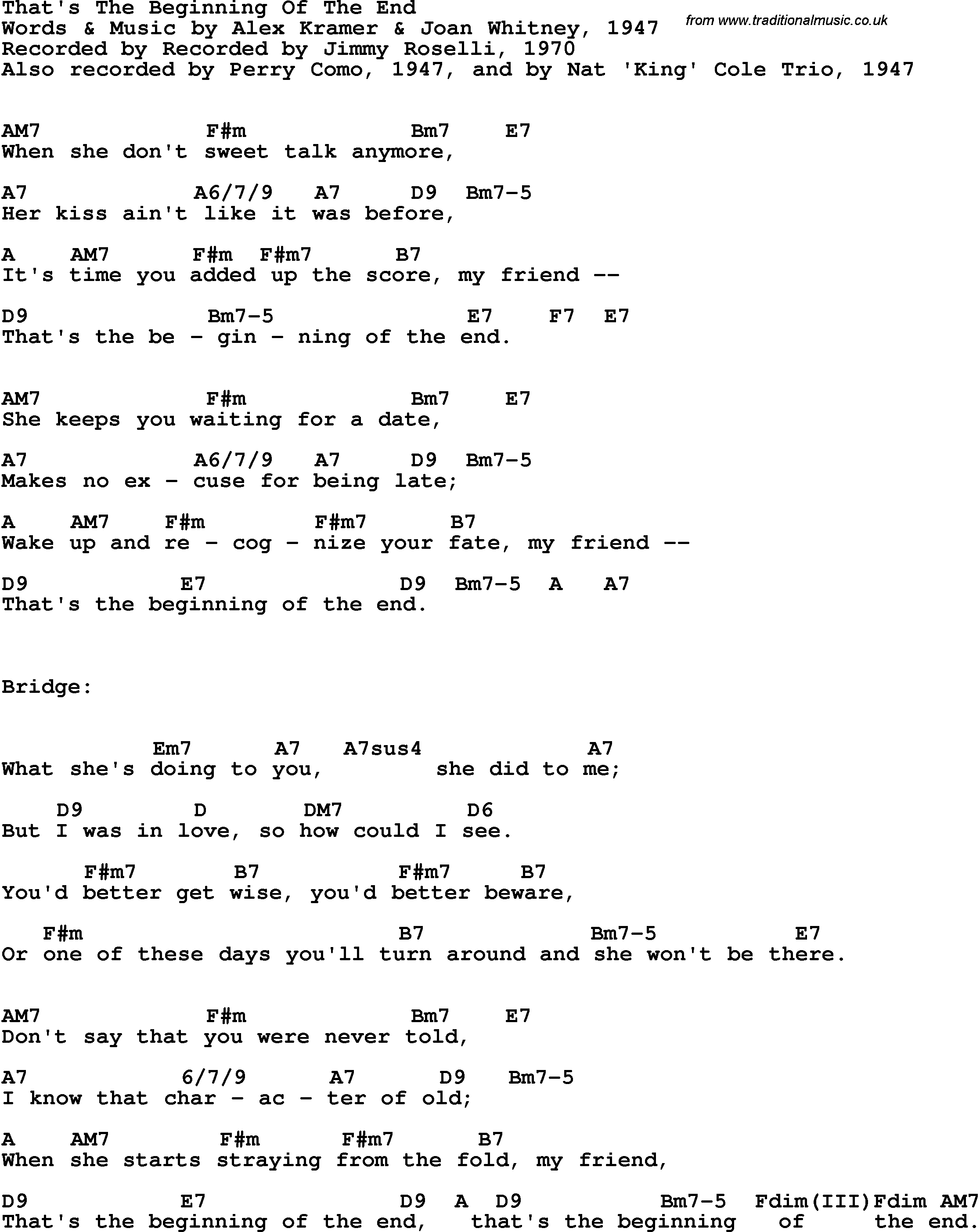 Song Lyrics With Guitar Chords For That S The Beginning Of The End Jimmy Roselli 1970