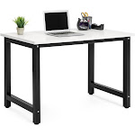 Best Choice Products Large Modern Computer Table Writing Office Desk Workstation - White/Black