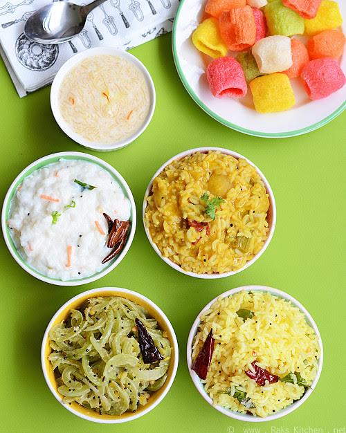 Variety lunch - Flavored rice, sambar rice, curd rice, poriyal, sweet, vadams
