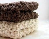 Cotton Crochet Washcloths, Dish Cloths, Chocolate Brown, Ivory, Eco Friendly Handmade Wash Cloths, Dish Cloths, Bath Accessories - MorningSkyCreations