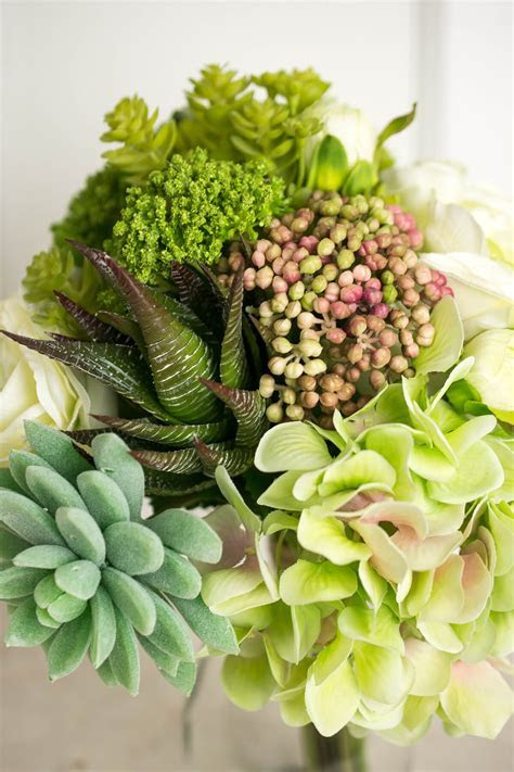 Faux Hydrangea, Rose & Succulent Bouquet in Green and