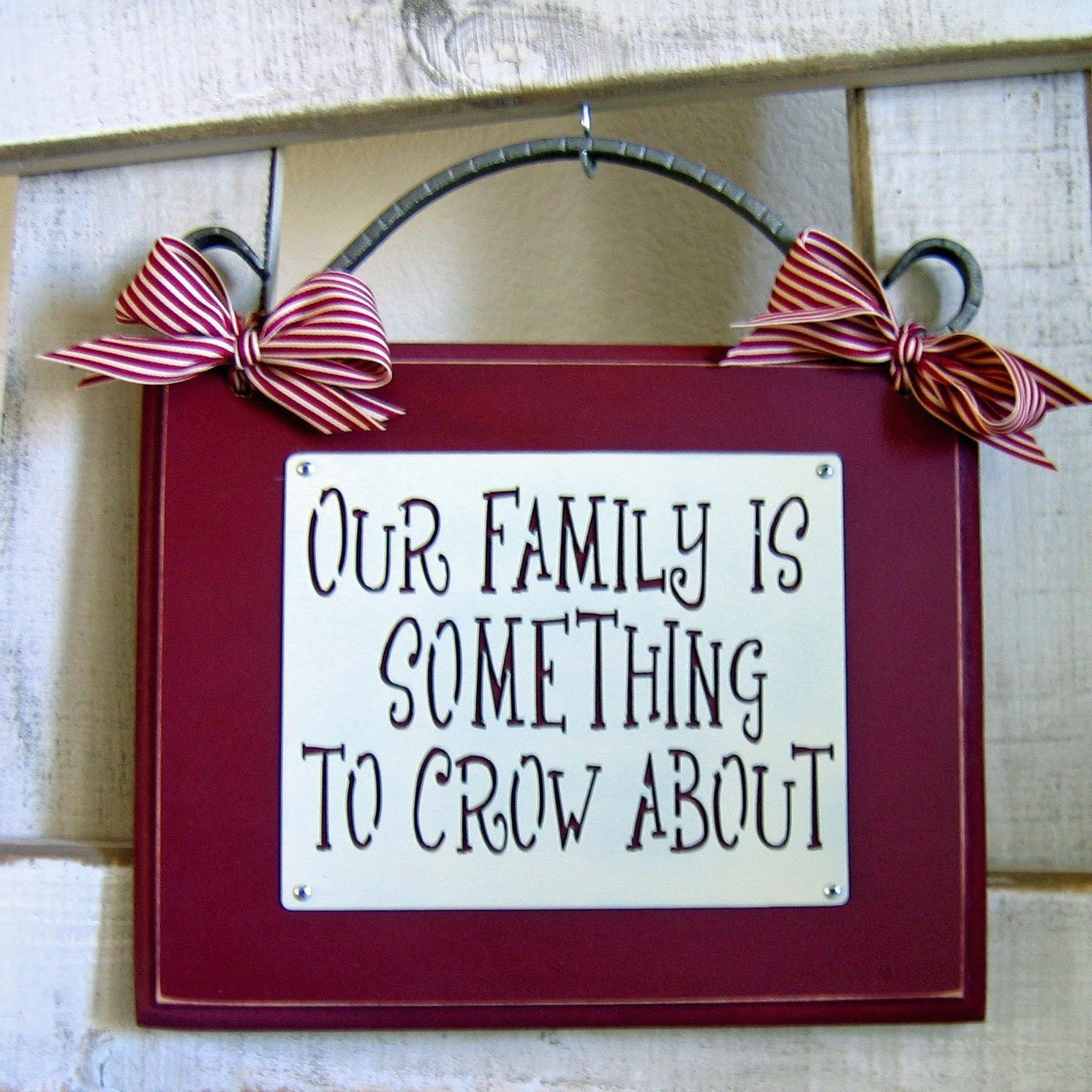 Our Family Is Something To Crow About Metal on Wood Plaque