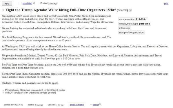 """""""Si cercano attivisti contro Trump, 15 dollari all'ora"""": l' annuncio su un sito di offerte di lavoro online"""