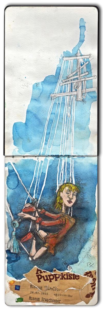 Zeichnung Marionette Akrobatin