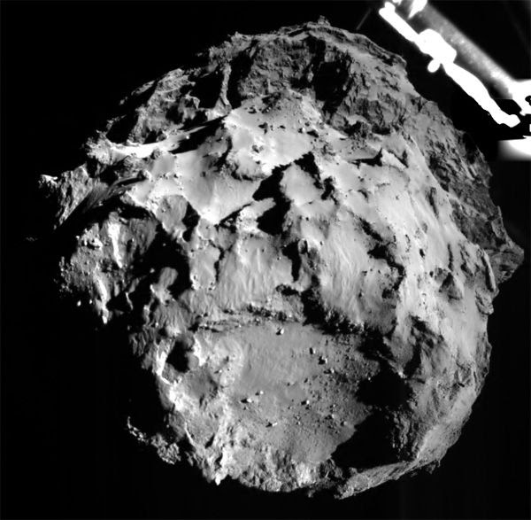 Comet 67P/Churyumov–Gerasimenko as seen by ESA's Philae spacecraft while it heads in for a landing on the icy celestial body, on November 12, 2014.