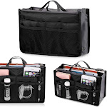 Meflying Multifunctional Cosmetic Makeup Organiser Bag Insert Multi-Pocket Travel Tidy Toiletry Organiser Handbag (Black)