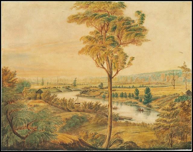 19th c. watercolour sketch of Hawkesbury river region NW of Sydney
