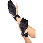 Leg Avenue Satin Cut Out Gloves Black