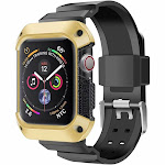 For Apple Watch Series 4 44mm Case, by Insten All In One Soft Silicone Protection Case Wristband Bracelet For Apple Watch Series 4 40mm - Gold
