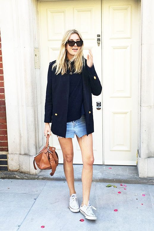 Le Fashion Blog Blogger Style Polished Meets Casual Look Sweater Navy Military Blazer Distressed Denim Skirt Brown Loewe Bag Converse Sneakers Via Camille Over The Rainbow