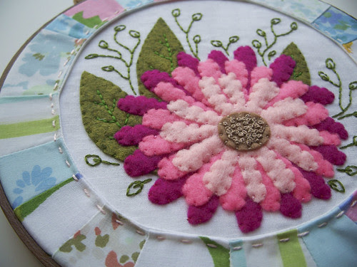 close up on the Spring Floral Embroidery