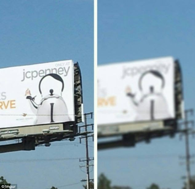 Customers have complained that billboard for the JC Penny kettle on the 405 Interstate looks like Hitler