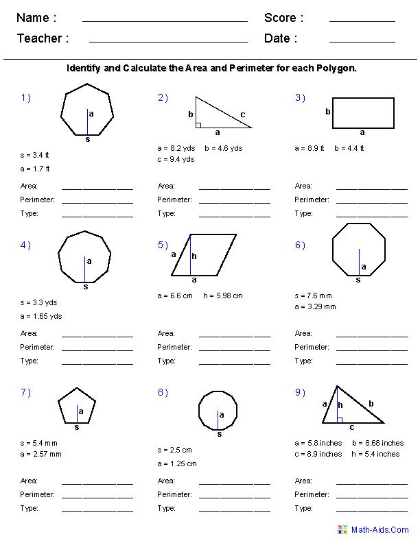 Geometry Worksheets