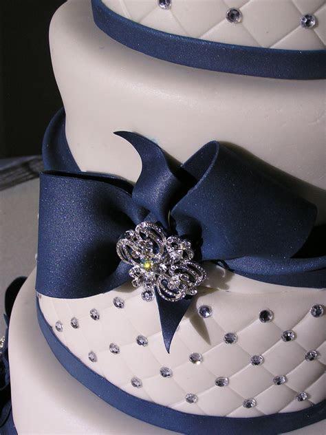 Navy Blue And White Wedding Cake   CakeCentral.com