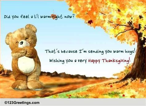 Teddy Hugs For Thanksgiving! Free Family eCards, Greeting