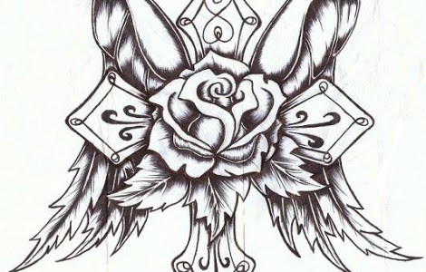 Drawings Of Crosses With Wings And Roses Tattoos Designs Ideas