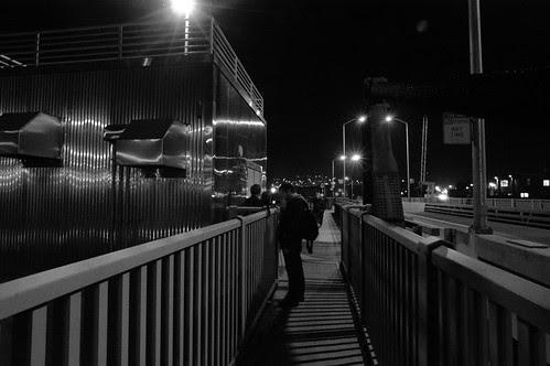 Shooting on the Bridge BW