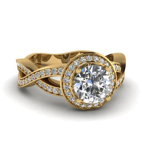 Round Cut Twisted Halo Diamond Womens Engagement Ring In
