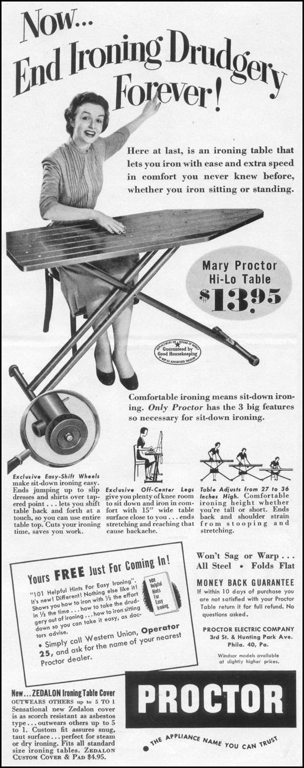MARY PROCTOR HI-LO IRONING TABLE LIFE 10/13/1952 p. 150