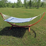 Sunnydaze Quilted Double Fabric 2-Person Hammock with Curved Arc Wood Stand, Catalina Beach