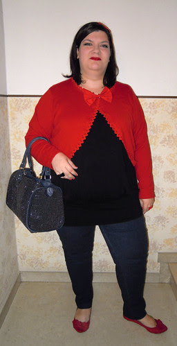Blue, black and red outfit