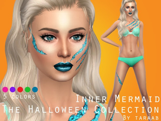 The Sims Resource: The Halloween Collection - Inner Mermaid Body Makeup • Sims 4 Downloads