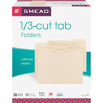 Smead 1/3 Cut Assorted One-Ply Top Tab File Folders, Manila, Letter - 100 pack