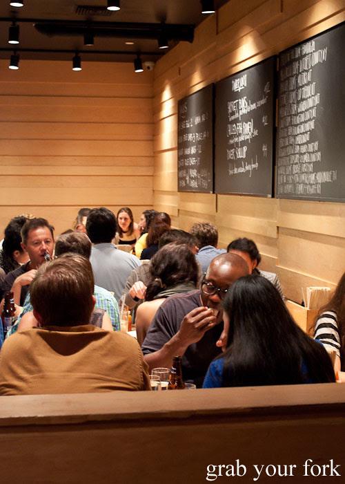 dining room table seating momofuku fried chicken at momofuku noodle bar nyc new york david chang