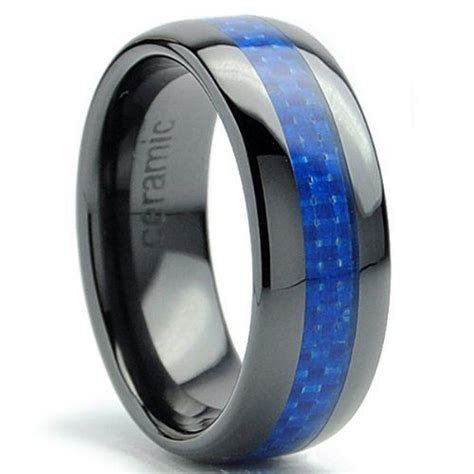 mm dome mens black ceramic ring wedding band  blue
