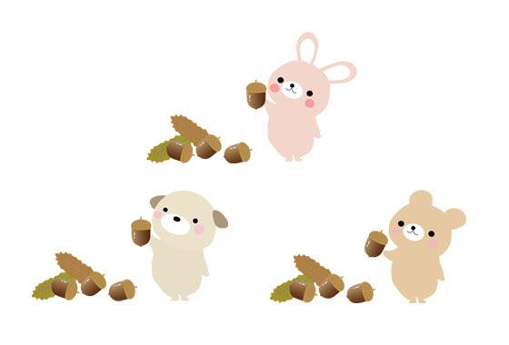 フリー素材 どんぐりと動物達を描いた可愛いイラストセット