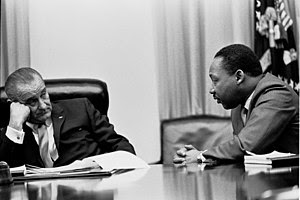 President Lyndon B. Johnson meets with Martin ...