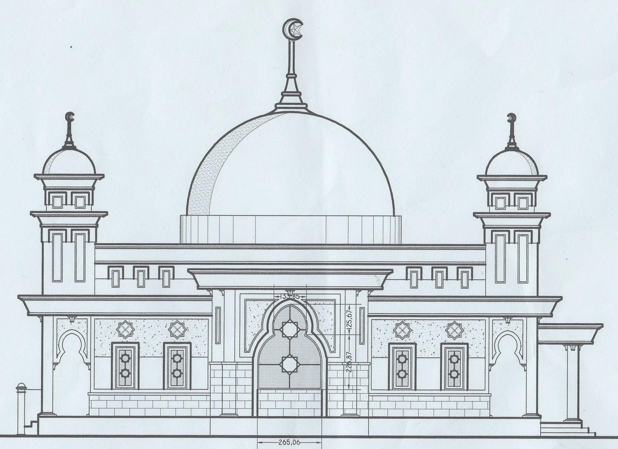 Cara Mewarnai Gambar Masjid Dengan Crayon Mewarnai W