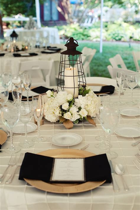 Lantern Centerpieces   Ivory Gold and Black Wedding