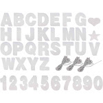 Custom Banner Kit - 125-Piece Customizable Banner Letters, Numbers, and Symbols, Silver Glitter DIY Letter Banner, Make Your Own Banner for Birthdays