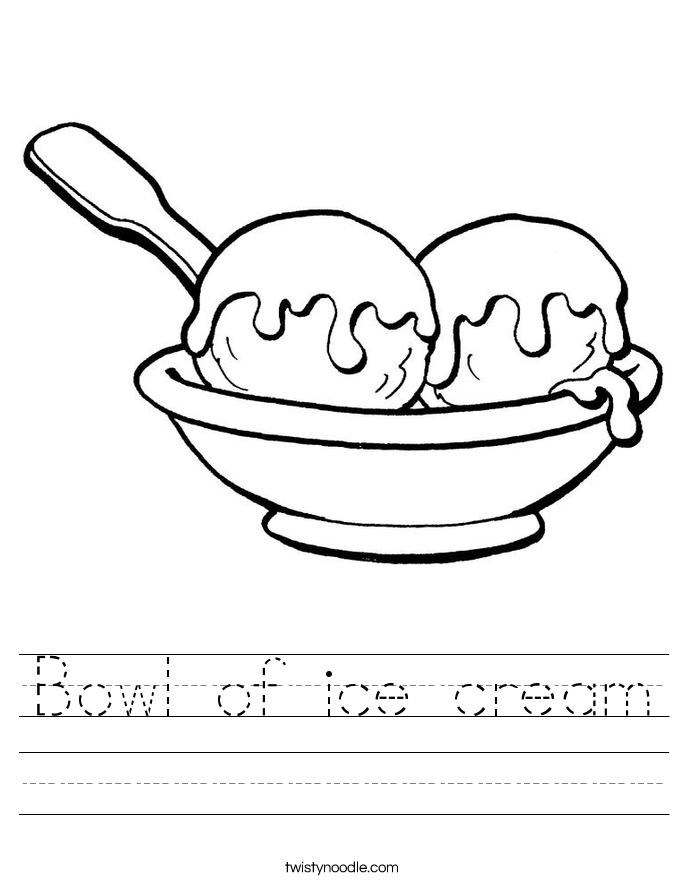 Bowl of ice cream Worksheet - Twisty Noodle