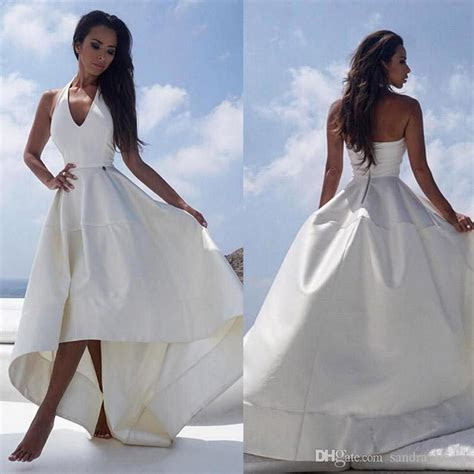 Discount 2018 White Satin High Low Style Beach Wedding