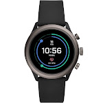 Fossil - Sport Smartwatch 43mm Aluminum - Black with Black Silicone Band