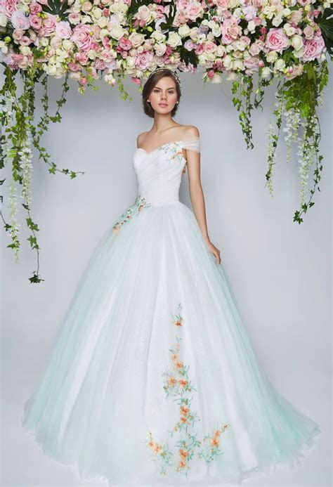 Light blue off shoulder wedding gown embroidered flowers