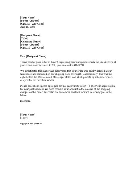 Letter Apologizing For Shipping Delay