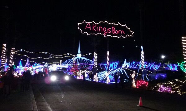 The Christmas light exhibition at the City Blessing Church in Walnut, CA.