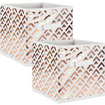 """Set of 2 Gold and White Square Fabric Storage Bin 11"""" by Christmas Central"""