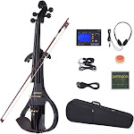 ammoon ve-209 full size 4/4 solid wood silent electric violin fiddle maple body ebony fingerboard pegs chin rest tailpiece with bow hard case tuner he