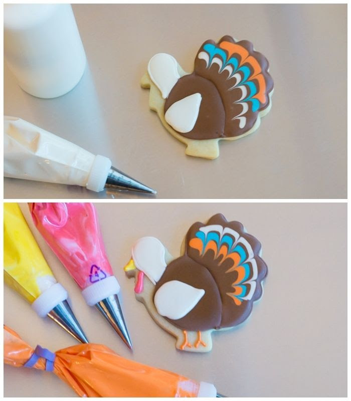 how to make decorated turkey cookies