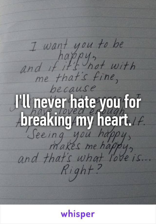 Ill Never Hate You For Breaking My Heart