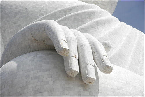 Close up of the Buddha's hand, Phuket Big Buddha