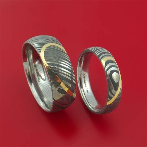 Matching Damascus Steel Heart Carved Ring Set with 14K