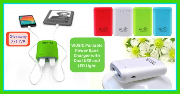giveaway button wusic portable power bank charger with dual usb and light