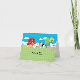Barn Animals Thank You Card card